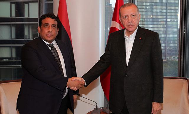 Cumhurbaşkanı Erdoğan, Libya Başkanlık Konseyi Başkanı el-Menfiile görüştü